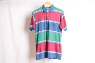 Vintage des années 90 pastel POLO manches courtes RUGBY style chemise--taille moyenne