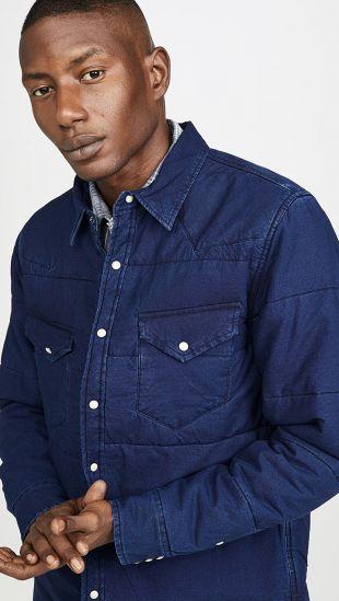 Indigo Quilted Shirt Jacket