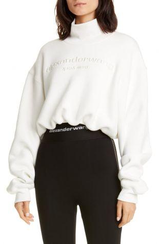 Whtie Mock Neck Crop Sweatshirt
