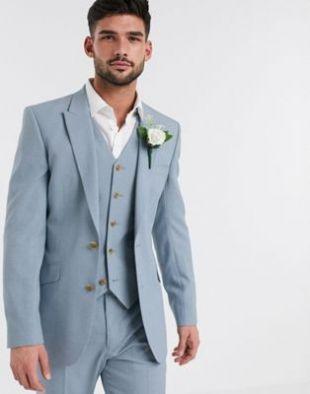ASOS DESIGN wedding skinny suit jacket in crosshatch in soft blue | ASOS
