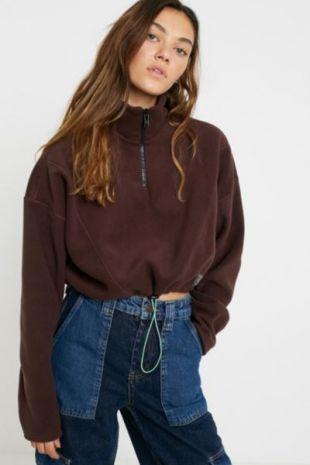 Fleece Panel Sweater Track Top