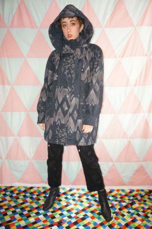 vintage 90s Dark Grey Abstract Pattern Manteau à capuchon