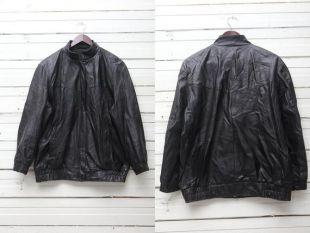 vintage Black Leather Bomber / 1980s True vintage Black Leather Zip Up Jacket / Taille 42 / Large Motorcycle Jacket / Black Biker Jacket
