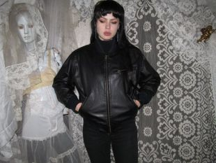 Black Leather Bomber Jacket 80s 90s par Mixed Blues Quilted Lining Athletic Unisex Nu Goth Punk Retro Witchy Coat Oversized Winter S
