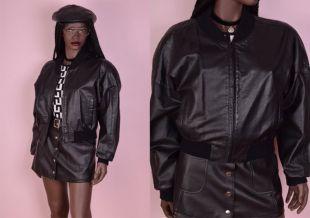 80 s noir blouson en cuir / Medium / 1980 s