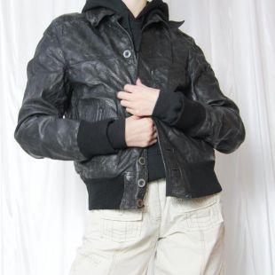 vintage noir bomber style bouton jusqu'à manteau veste