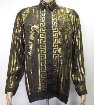 Vintage 90's style baroque Chemise en soie grecque - Style européen inspiré Noir et Or, 100% Soie métallique ,taille Homme S