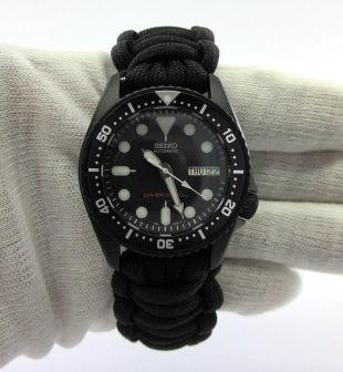 Nouveau mouvement nh36a Seiko mod MEDIUM SKX013 tous les plongeurs noirs regarder Cerakote militaire avec la main conçu Paracord bracelet
