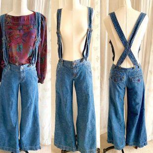 Vintage 90s Wide Leg Overalls Jeans, Bretelles, Soft Denim, Hipster Size XS