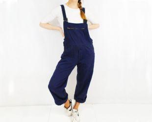 Français Cotton Workwear Dungarees Overalls Navy Blue - Unisex - vintage - Diverses tailles