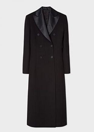 Women's Black Double-Breasted Wool Tuxedo Opera Coat With Satin Lapel