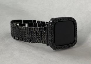 Black Apple Watch Band Iced Out Lab Diamonds Apple Watch Bezel 38mm 40mm 42mm 44mm Series 1,2,3,4,5 Custom Deluxe