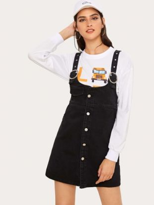Solid Button Through Dungaree Dress