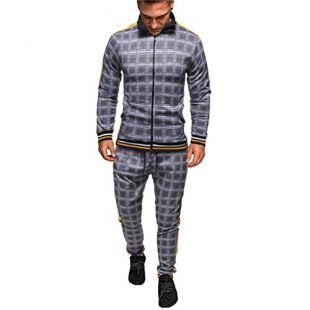 Men's Athletic Tracksuit, Men 2 Piece Jacket & Pants Full Zip Active Wear Sweatsuit Set Plaid Casual Jogging Sports Set