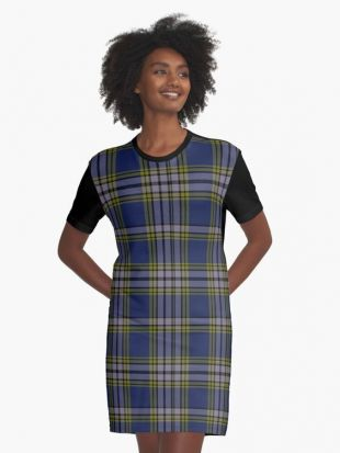 Blue and Gray Plaid Graphic T-Shirt Dress