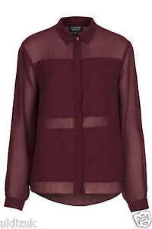 Topshop Cosplay Burgundy Maroon Sheer Panel Chiffon Blouse Shirt - Size 6