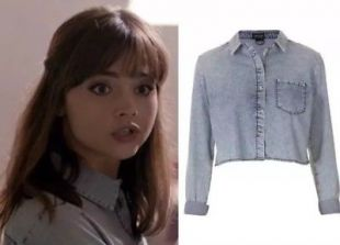 Topshop Blue Washed Acid Denim Cropped Screen Accurate Cosplay Shirt Top 8 4 36
