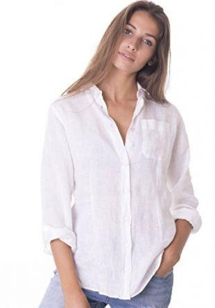 Womens 100% Linen Casual Shirts Slim Fit Button-Down Basic Blouse Top XL Snow White