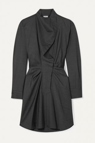 Ruched Checked Wool Dress