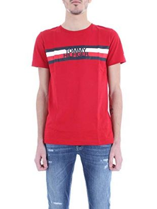 Tommy Hilfiger Tommy Logo Tee T-Shirt, Rouge (Haute Red 611), Medium Homme
