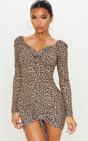 Robe moulante manches longues marron à imprimé léopard et effet froncé devant