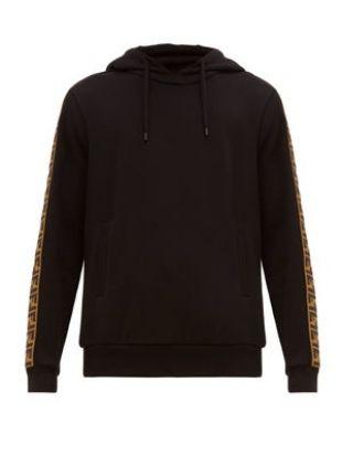 Logo-jacquard tape hooded sweatshirt
