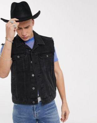 ASOS DESIGN - Veste en jean sans manches - Noir | ASOS