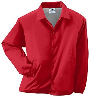 Augusta Sportswear Men's Nylon Coach's Jacket/Lined, Red, X-Large
