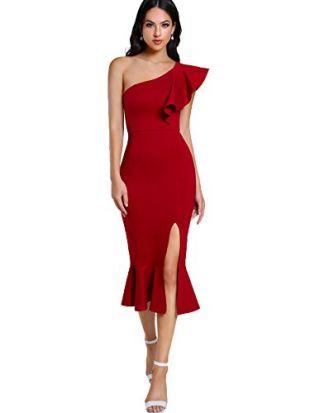 Floerns Women's Ruffle One Shoulder Split Midi Party Bodycon Dress Red M