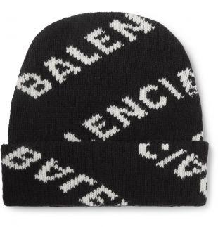 Black Logo-Jacquard Virgin Wool and Camel Hair-Blend Beanie