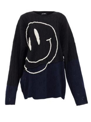 Smiley Face-embroidered Wool Sweater