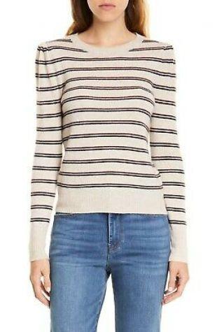 Shirred Stripe Cashmere Sweater