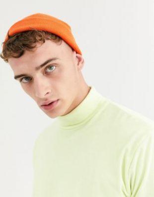ASOS DESIGN - Petit bonnet style pêcheur - Orange fluo   ASOS