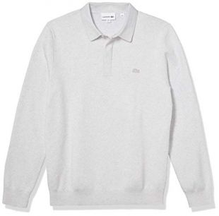 Lacoste Men's Long Sleeve Regular Fit Classic Stitch Sweater, Alpes Grey Chine, L