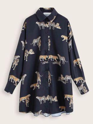 Robe chemise imprimé léopard