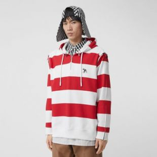 Zip Detail Striped Cotton Hoodie in Red | Burberry United States