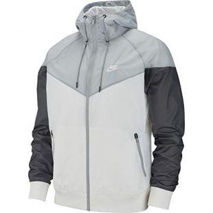 Nike Mens Windrunner Hooded Track Jacket White/Wolf Grey Dark Grey/White AR2191-100 Size Large