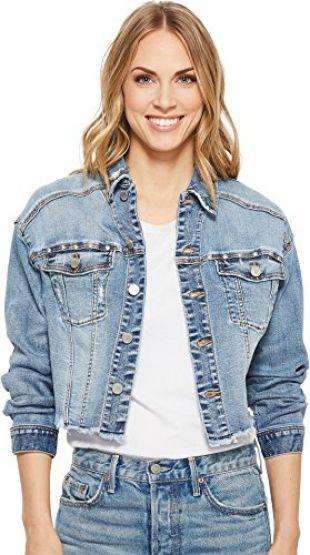 Women's Dropped Shoulder Crop Denim Jacket