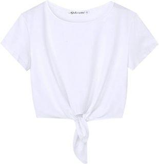Women's Short Sleeve Cute Summer Tie Knot Front Crop Top Tee T Shirt