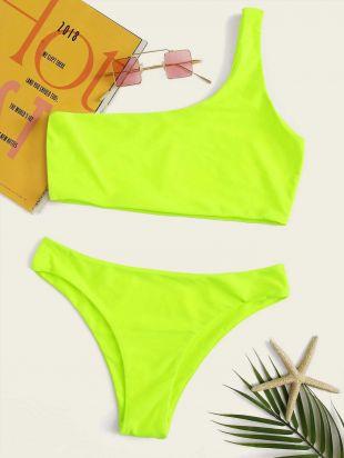 Bikini fluo avec épaule dénudée