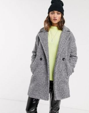 Bershka boucle coat in gray