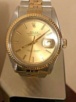 Rolex Datejust Mens 2Tone 18K Gold & Stainless Steel Jubilee Champagne 1601  | eBay