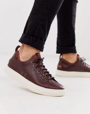 Baskets en cuir avec détail style chaussette - Marron