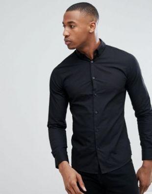 Chemise ajustée stretch en popeline - Noir