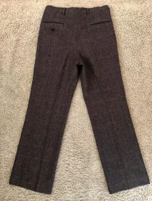 Vintage Men's 80's Brown, Plaid, Wool, Straight Leg, Pleated Pants (W32)