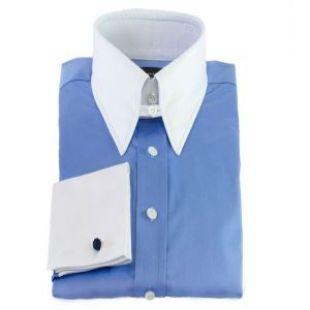Edward Sexton French Blue Tab Collar Shirt