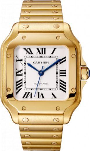 Montre Santos de Cartier: Montre Santos, moyen modèle, mouvement mécanique à remontage automatique 1847 MC. Boîte en or jaune 18 carats