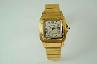 CARTIER SANTOS GALBEE 18K YELLOW GOLD MAN'S w/ DATE & CARTIER BOX, DATES 1990'S  | eBay