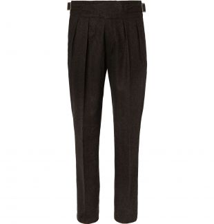 Brown Manny Navy Tapered Pleated Stretch-Virgin Wool Twill Trousers
