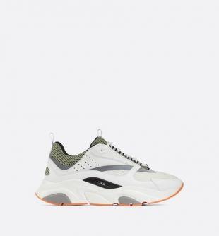 Sneaker B22 en maille technique blanche et kaki avec veau blanc et gris - Souliers - Mode Homme   DIOR